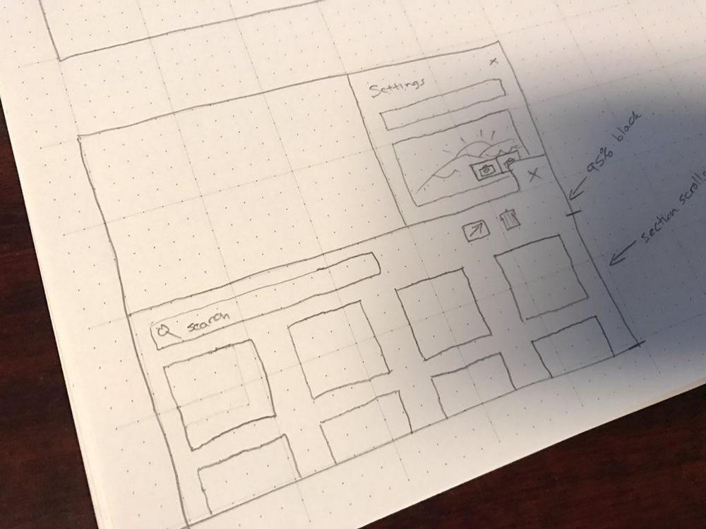 A hand drawn wireframe of an uploads manager prototype