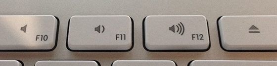 Photo of a macOS keyboard's volume buttons